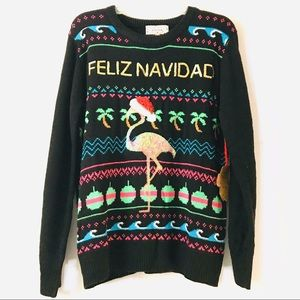 Poof New York Sweaters - Feliz Navidad Ugly Christmas Sweater